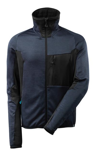 MASCOT® ADVANCED - donkermarine/zwart - Fleecetrui met rits, moderne pasvorm