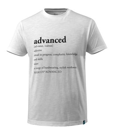 MASCOT® ADVANCED - wit - T-shirt met ADVANCED-tekst, moderne pasvorm