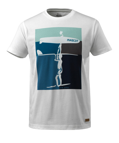 MASCOT® ADVANCED - wit - T-shirt met surfer, moderne pasvorm