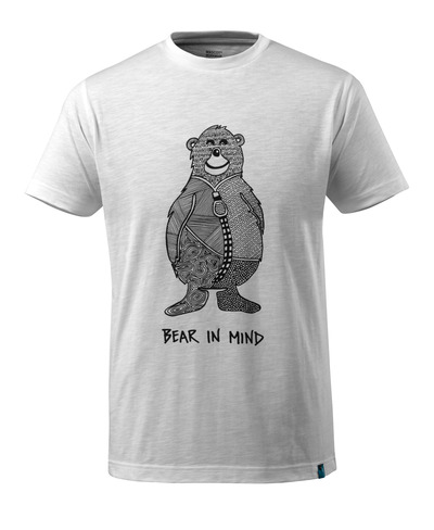 MASCOT® ADVANCED - wit* - T-shirt met beerlogo en BEAR IN MIND-tekst.