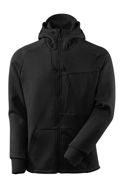 MASCOT® ADVANCED - zwart-melêe/zwart - Capuchontrui met rits, moderne pasvorm