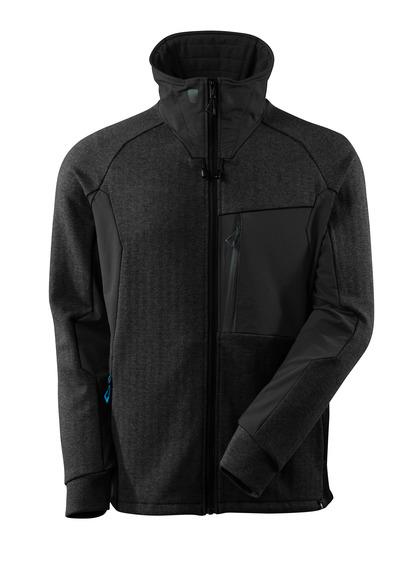 MASCOT® ADVANCED - zwart-melêe/zwart - Sweater met rits, hoge kraag, moderne pasvorm