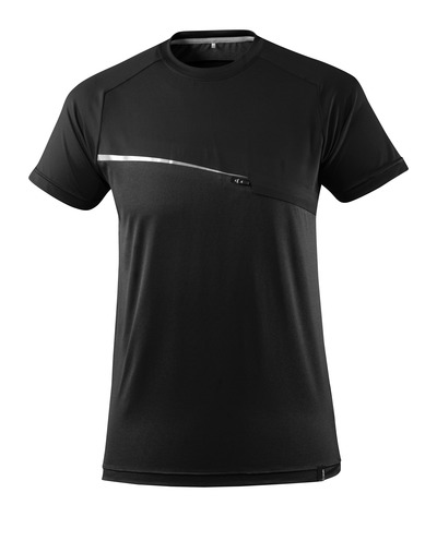 MASCOT® ADVANCED - zwart - T-shirt met borstzak, vochtregulerend, moderne pasvorm