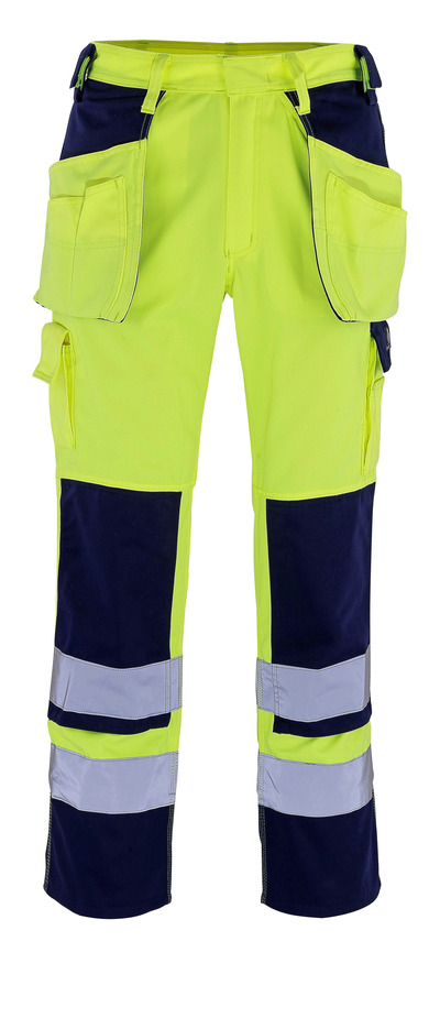 MASCOT® Almas - hi-vis geel/marine - Werkbroek met knie- en spijkerzakken, klasse 2