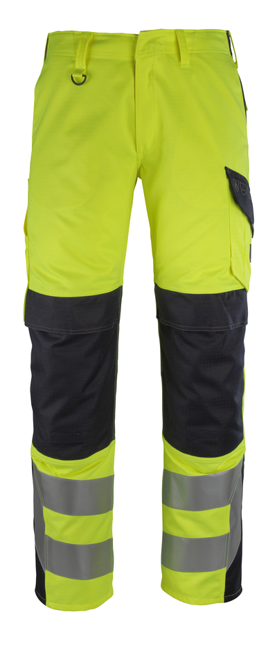 MASCOT® Arbon - hi-vis geel/donkermarine - Werkbroek met kniezakken, meervoudige bescherming, klasse 2
