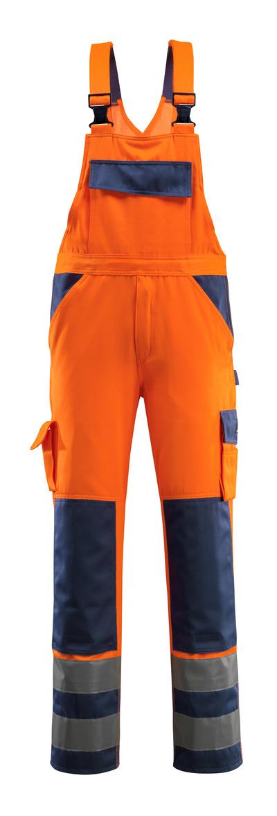 MASCOT® Barras - hi-vis oranje/marine - Amerikaanse overall met kniezakken, klasse 2