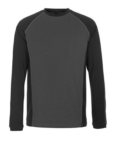 MASCOT® Bielefeld - donkerantraciet/zwart* - T-shirt, met lange mouwen