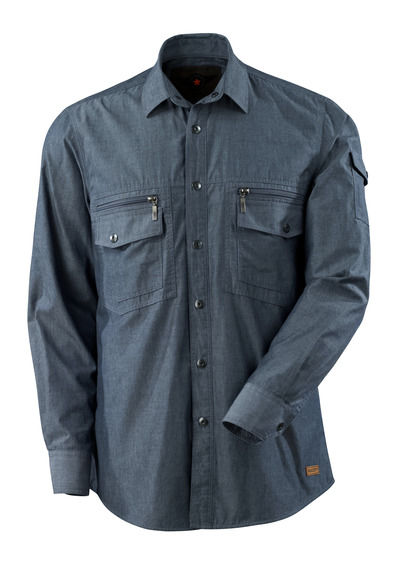 MASCOT® CROSSOVER - gewassen donkerblauw denim - Overhemd chambray met meshvoering.