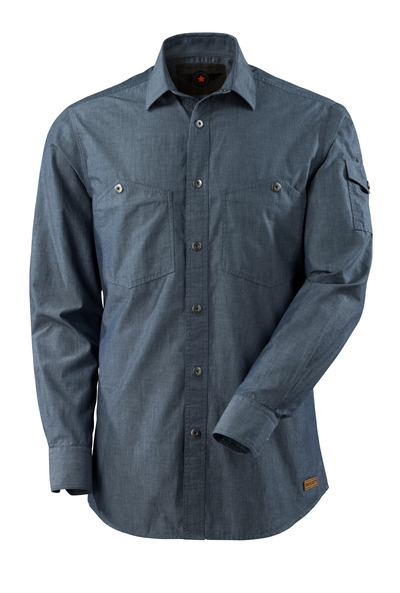 MASCOT® CROSSOVER - gewassen donkerblauw denim - Overhemd chambray