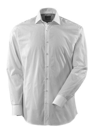 MASCOT® CROSSOVER - wit - Overhemd, poplin, ruime pasvorm, lange mouwen.