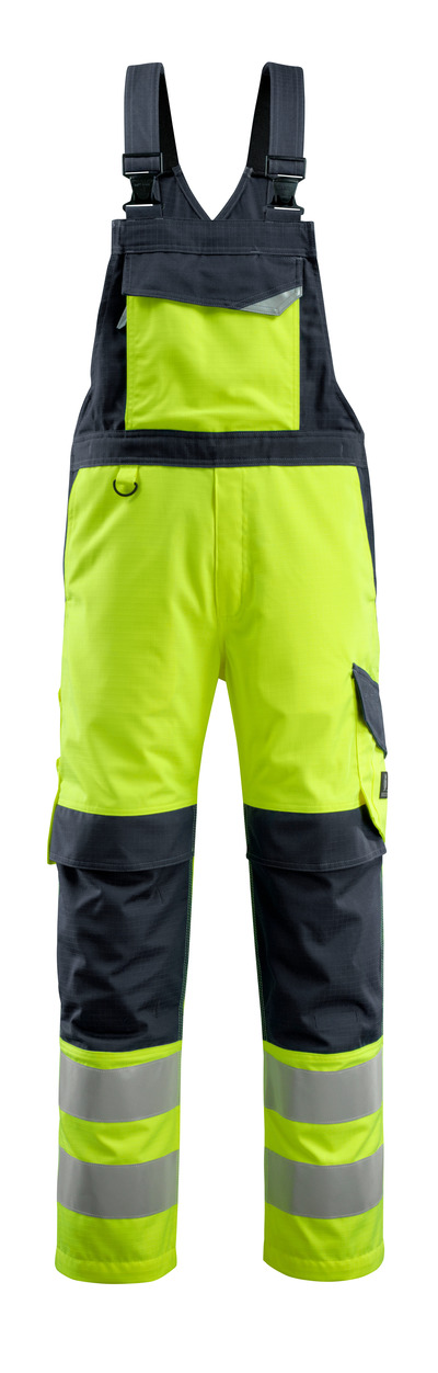 MASCOT® Davos - hi-vis geel/donkermarine - Amerikaanse overall met kniezakken, meervoudige bescherming, klasse 2