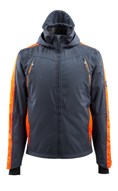 MASCOT® Gandia - donkermarine/hi-vis oranje - Shelljack met Hi-Vis-contrast, waterdicht