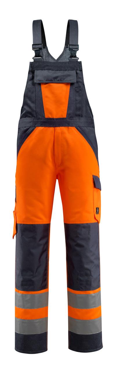 MASCOT® Gosford - hi-vis oranje/donkermarine - Amerikaanse overall met kniezakken, klasse 2