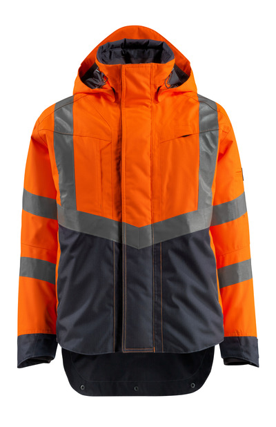 MASCOT® Harlow - hi-vis oranje/donkermarine - Shelljack, waterdicht, klasse 3