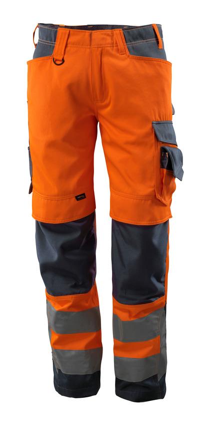 MASCOT® Kendal - hi-vis oranje/donkermarine - Werkbroek met CORDURA®-kniezakken, klasse 2