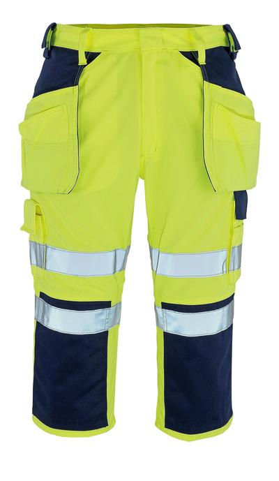 MASCOT® Lagarto - hi-vis geel/marine* - Driekwart broek met knie- en spijkerzakken