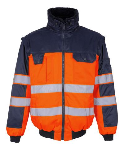MASCOT® Livigno - hi-vis oranje/marine - Pilotenjas met uitneembare bontvoering, waterafstotend, klasse 2
