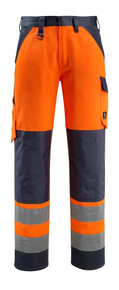 MASCOT® Maitland - hi-vis oranje/donkermarine - Werkbroek met kniezakken, klasse 2