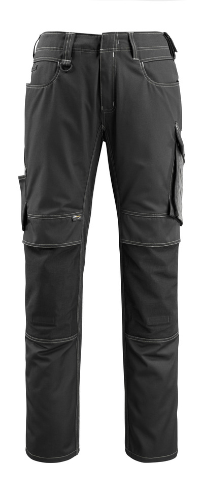 MASCOT® Mannheim - zwart/donkerantraciet - Broek met CORDURA®-kniezakken, lichtgewicht