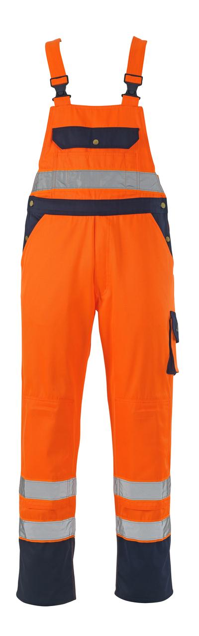 MASCOT® Milano - hi-vis oranje/marine* - Amerikaanse overall met kniezakken, klasse 2/2