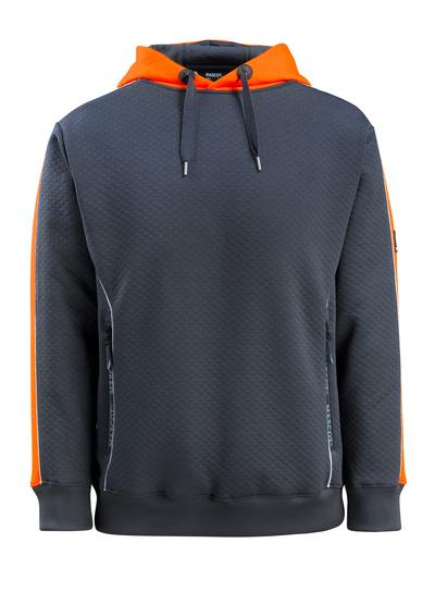 MASCOT® Motril - donkermarine/hi-vis oranje - Capuchontrui met Hi-Vis-contrast, gewafeld oppervlak, moderne pasvorm
