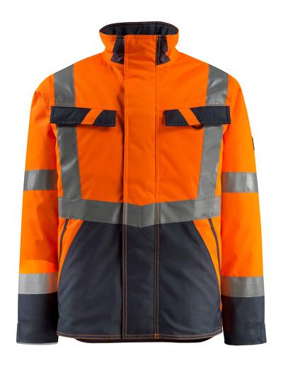 MASCOT® Penrith - hi-vis oranje/donkermarine - Winterjack met gewatteerde voering, waterafstotend, klasse 3