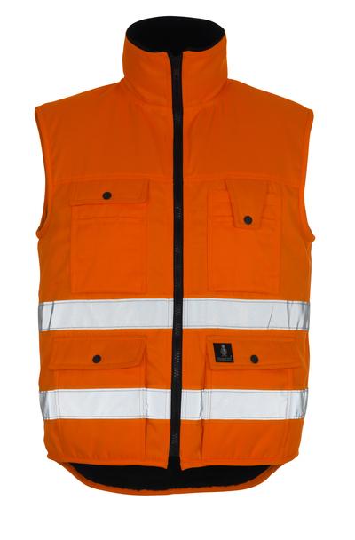 MASCOT® Sölden - hi-vis oranje - Winterbodywarmer met bontvoering, waterafstotend materiaal, klasse 1