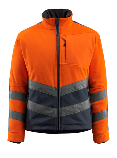 MASCOT® Sheffield - hi-vis oranje/donkermarine - Fleecejack met gewatteerde en winddichte voering, waterafstotend, klasse 2