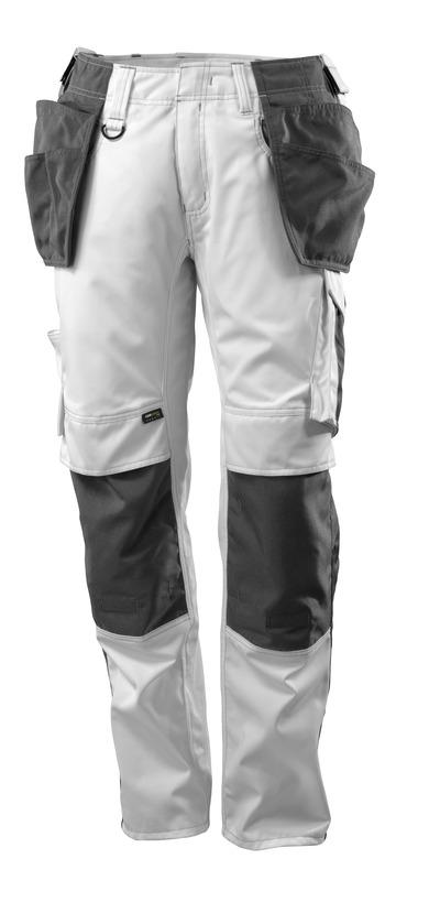 MASCOT® UNIQUE - wit/donkerantraciet - Broek met CORDURA®-knie- en spijkerzakken, lichtgewicht