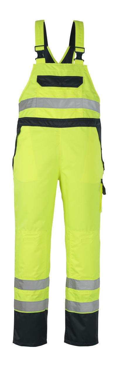 MASCOT® Wels - hi-vis geel/marine - Overtrektuinbroek met kniezakken, waterdicht MASCOTEX®, klasse 2
