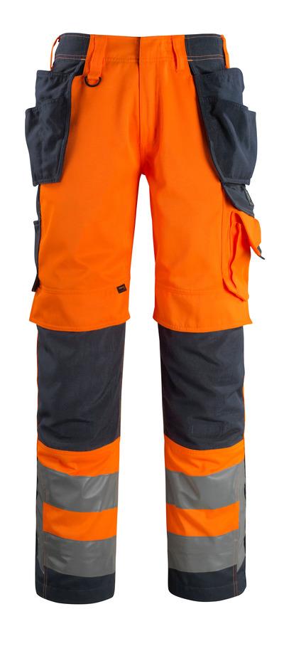 MASCOT® Wigan - hi-vis oranje/donkermarine - Werkbroek met CORDURA®-knie- en spijkerzakken, hoge slijtvastheid, klasse 2