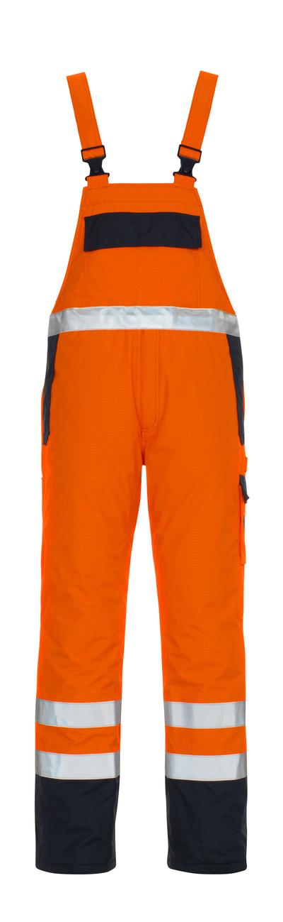 MASCOT® Zug - hi-vis oranje/marine* - Amerikaanse overall met voering, meervoudige bescherming, waterdicht, klasse 2/2